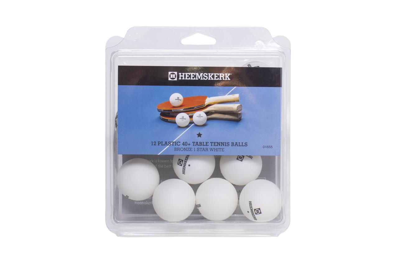 TC0739-10: Tafeltennis ballen Heemskerk Bronze 1 ster wit, per 12 #1