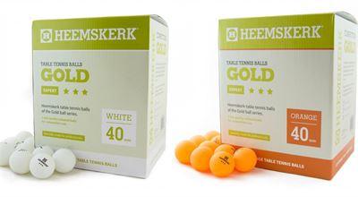Tafeltennis ballen Heemskerk Gold 3 ster 120 stuks oranje of wit