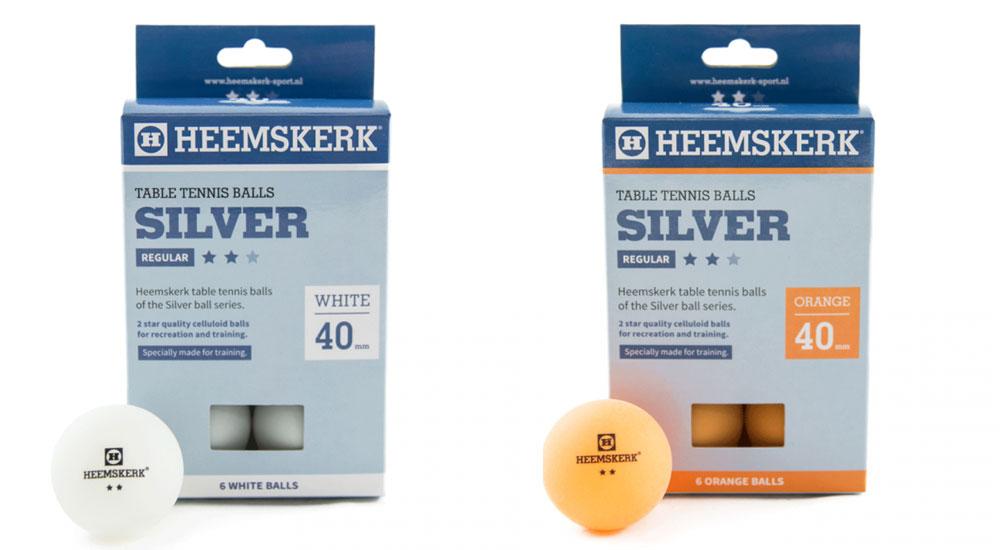 TC0739-5: Tafeltennis ballen Heemskerk Silver 2 ster 6 stuks oranje #1
