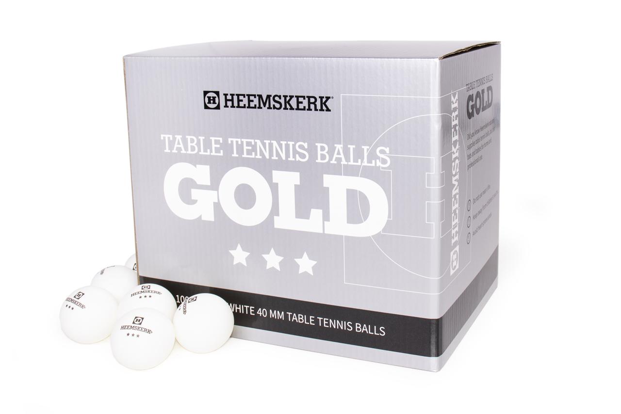 TC0739-6: Tafeltennis ballen Heemskerk Gold 3 ster 100 stuks wit #1
